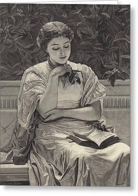 Girl Reading Greeting Card by Charles Edward Perugini