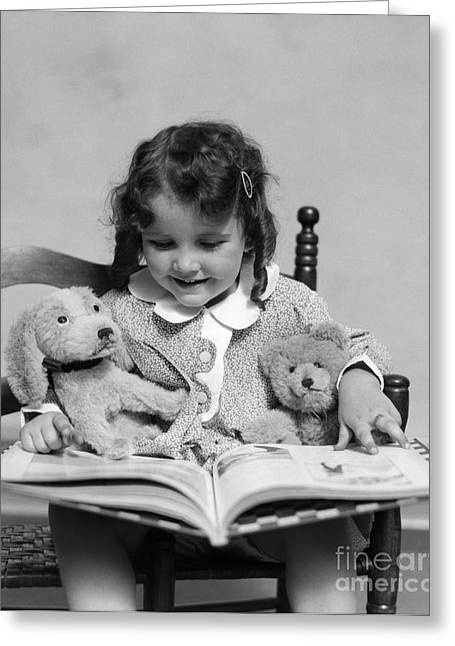 Girl Reading Storybook, C.1930s Greeting Card by H. Armstrong Roberts/ClassicStock