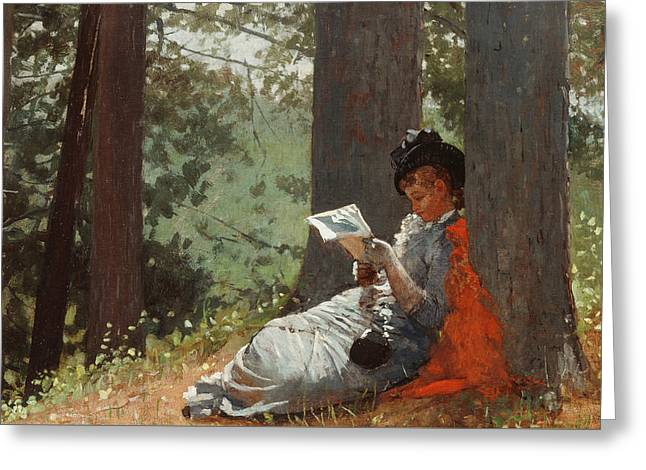 Girl Reading Under An Oak Tree Greeting Card by Winslow Homer