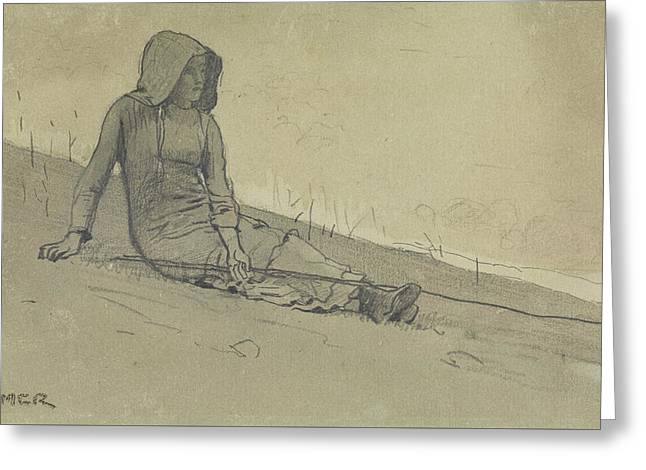 Girl Seated On A Hillside Greeting Card by Winslow Homer