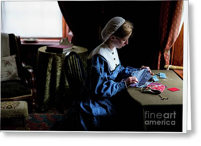 Girl Sewing Greeting Card