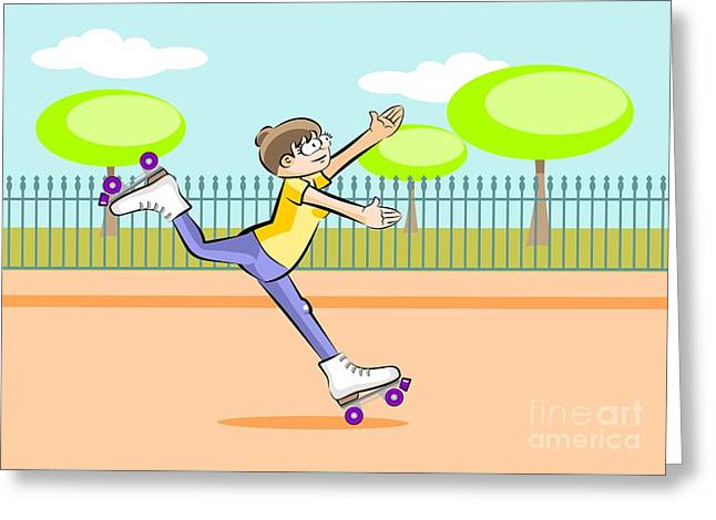 Girl Skating In The Square Greeting Card