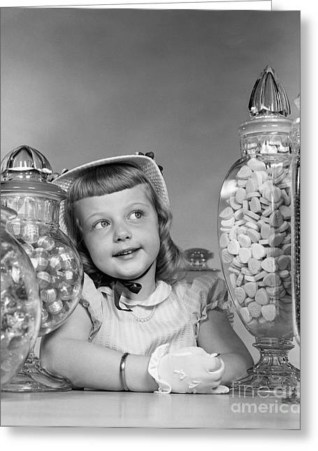 Girl Surrounded By Candy Jars, C.1950s Greeting Card by H. Armstrong Roberts/ClassicStock