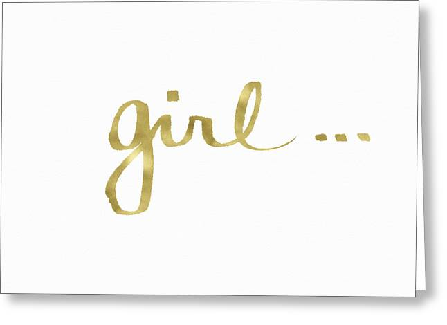 Girl Talk Gold- Art By Linda Woods Greeting Card