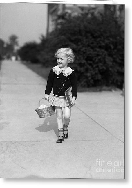 Girl Walking To School, 1940 Greeting Card