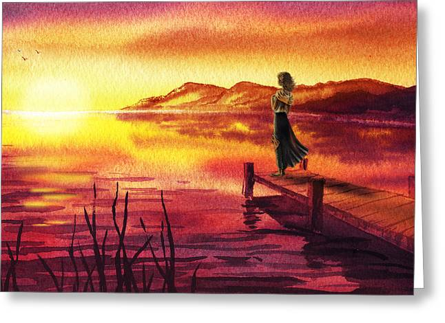 Girl Watching Sunset At The Lake Greeting Card by Irina Sztukowski