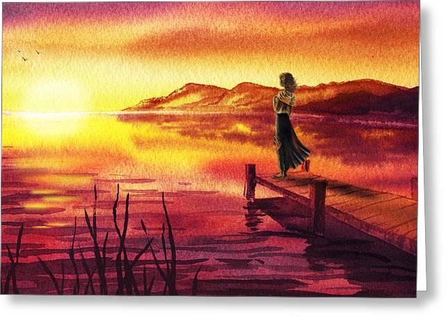 Greeting Card featuring the painting Girl Watching Sunset At The Lake by Irina Sztukowski