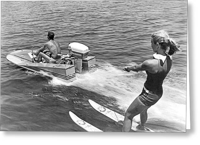 Girl Water Skiing Greeting Card by Underwood Archives