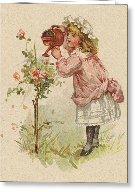 Girl Watering Roses Greeting Card by English School