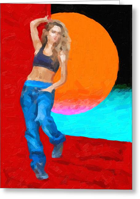 Greeting Card featuring the digital art Girl Wearing Blue Jeans by Serge Averbukh