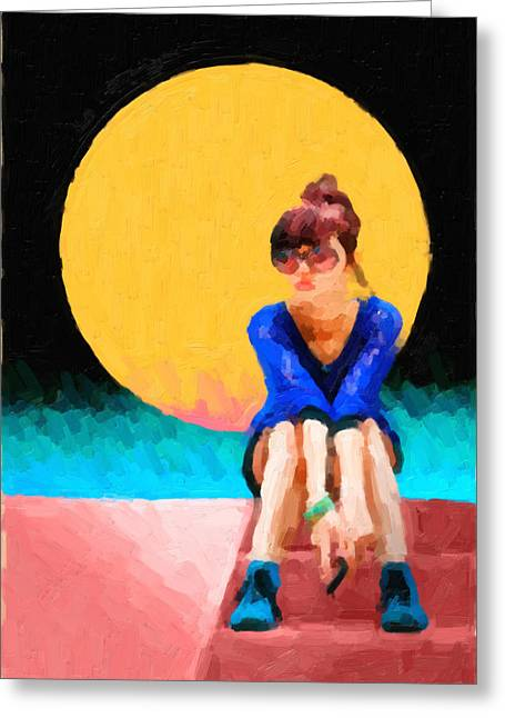 Greeting Card featuring the digital art Girl Wearing Teal Sneakers by Serge Averbukh