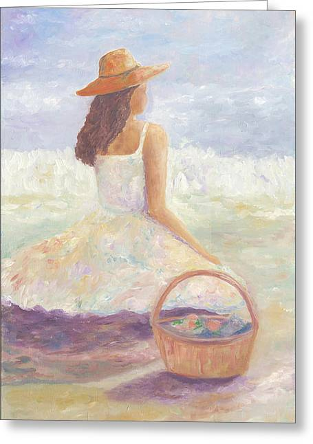 Girl With A Basket Greeting Card