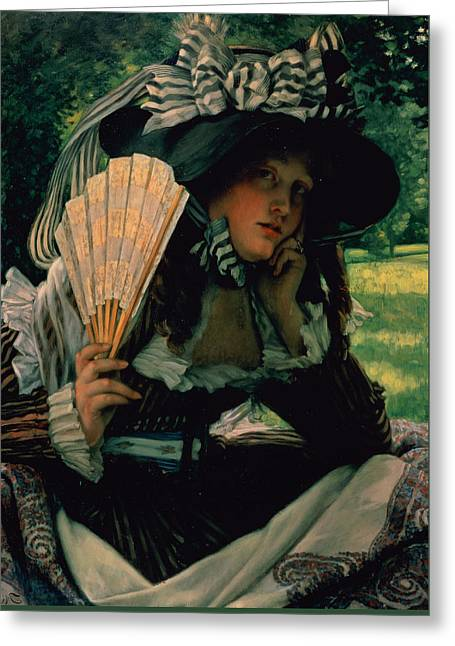 Girl With A Fan Greeting Card by James Jacques Joseph Tissot