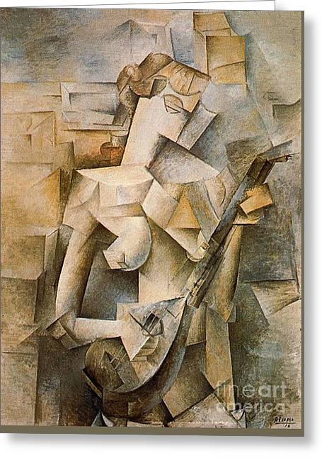 Girl With A Mandolin Greeting Card by Picasso