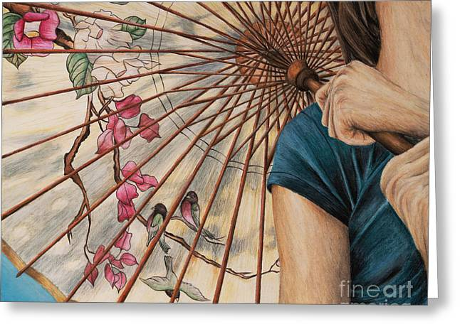 Girl With A Parasol Greeting Card by Wendy Galletta