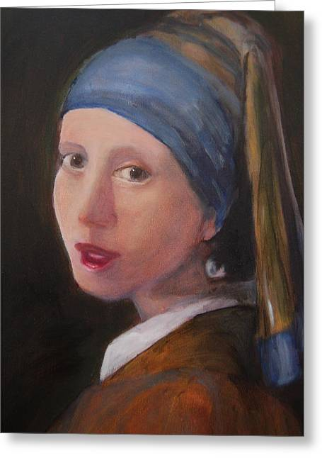 Girl With A Pearl Earring - Reproduction Greeting Card by Lisa Konkol