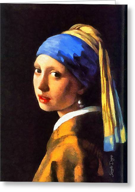 Girl With A Pearl Earring By Johannes Vermeer Revisited Greeting Card