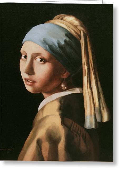 Girl With A Pearl Earring - After Vermeer Greeting Card
