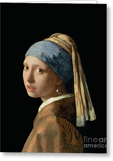 Woman Canvas Greeting Cards - Girl with a Pearl Earring Greeting Card by Jan Vermeer