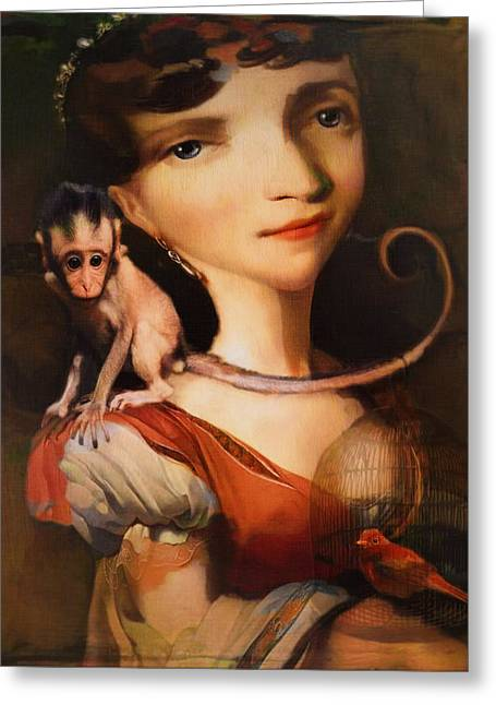 Girl With A Pet Monkey Greeting Card