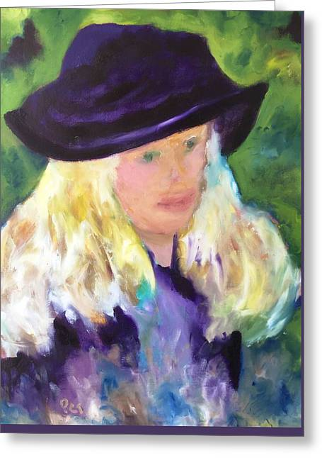Girl With A Purple Hat Revised Greeting Card