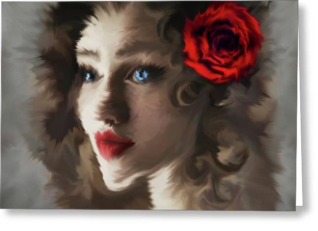 Girl With A Red Rose.. Greeting Card by Prar Kulasekara