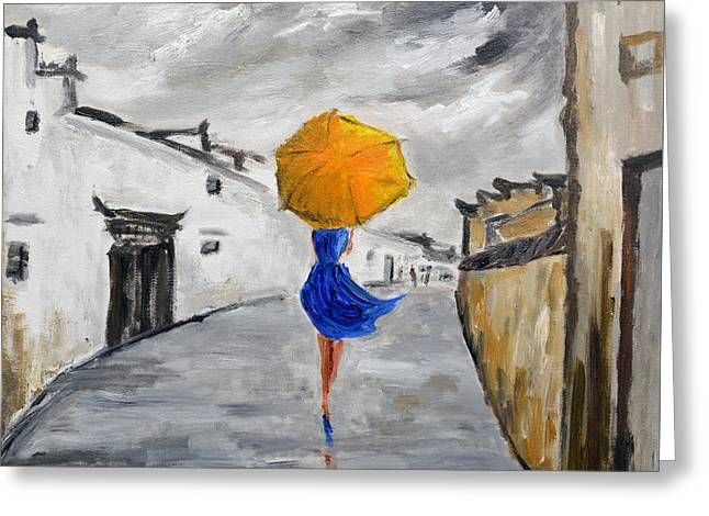 Girl With A Yellow Umbrella Greeting Card by Daniel Xiao