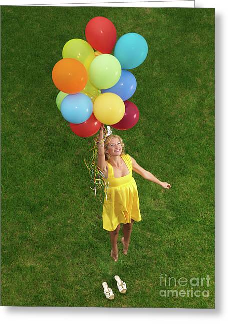 Girl With Air Balloons Greeting Card
