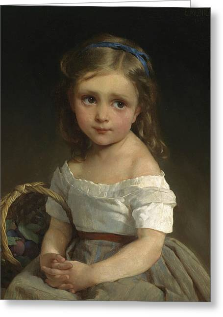 Girl With Basket Of Plums Greeting Card by Emile Munier