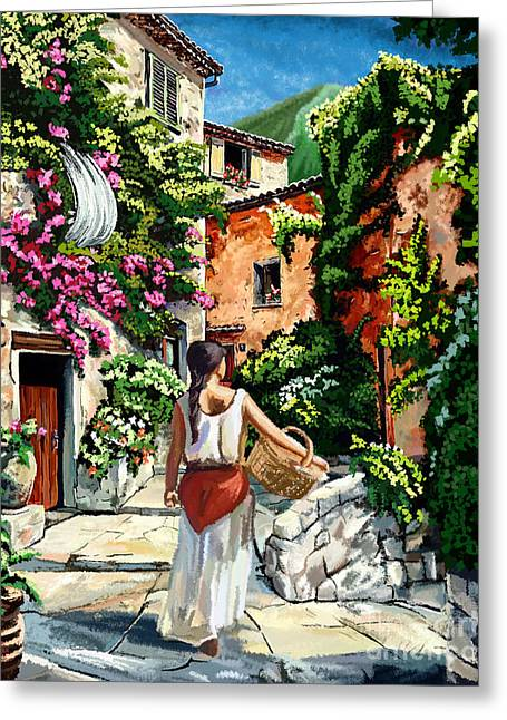 Girl With Basket On A Greek Island Greeting Card