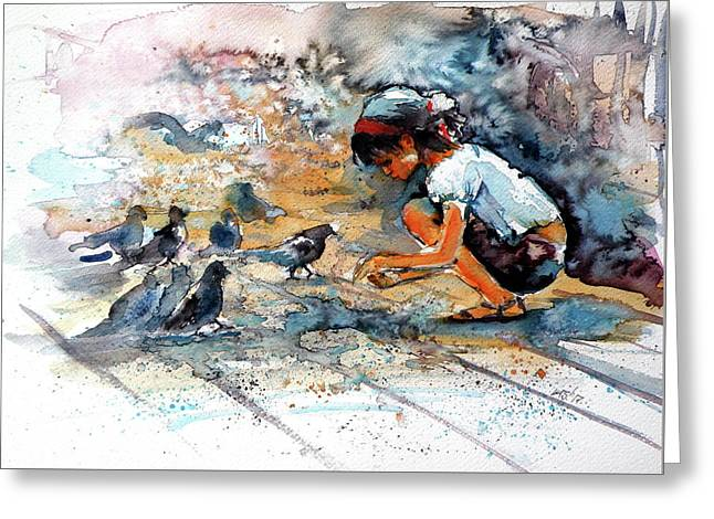 Greeting Card featuring the painting Girl With Birds by Kovacs Anna Brigitta