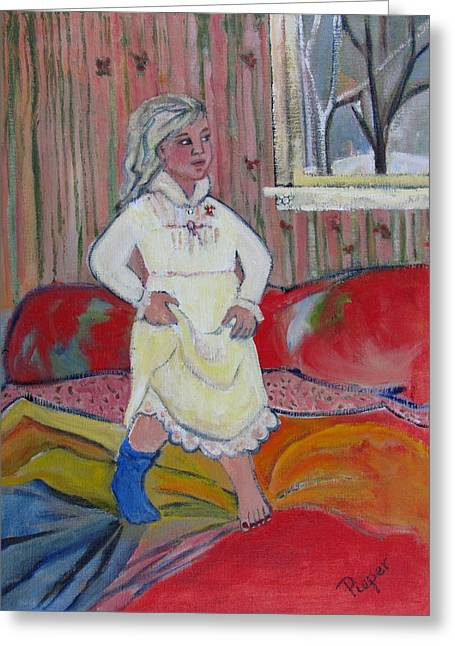 Greeting Card featuring the painting Girl With Blue Sock And Red Toe Nails by Betty Pieper