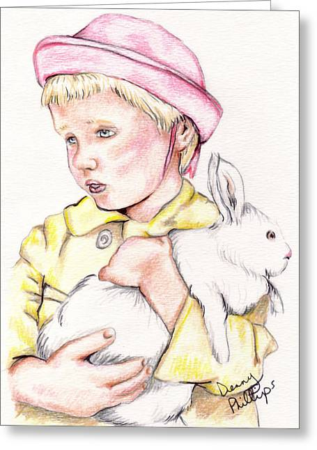 Girl With Bunny Greeting Card by Denny Phillips