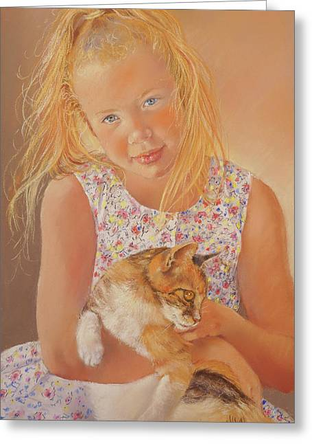 Girl With Cat Greeting Card