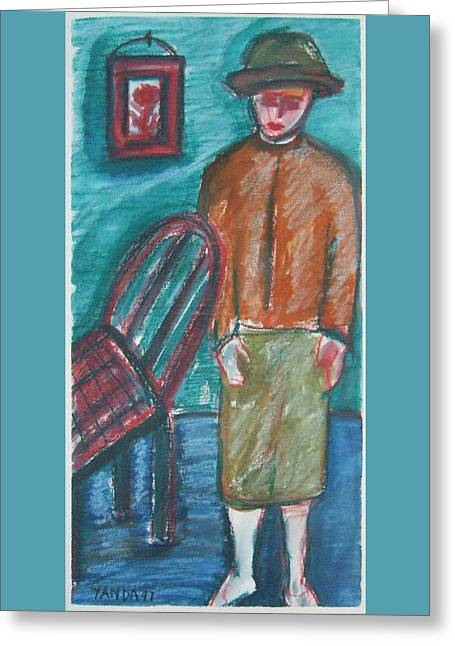 Girl With Chair Greeting Card