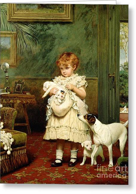 White Dogs Greeting Cards - Girl with Dogs Greeting Card by Charles Burton Barber