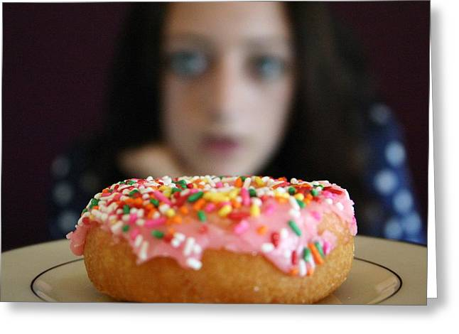 Girl With Doughnut Greeting Card by Linda Woods