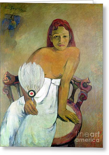 Girl With Fan Greeting Card by Paul Gauguin