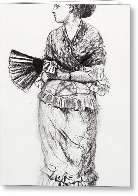 Girl With Fan Greeting Card by Winslow Homer