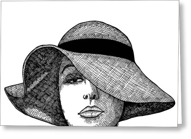 Girl With Fancy Hat Greeting Card by Karl Addison