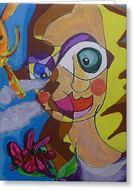 Girl With Flower In The Sun Greeting Card by BlondeRoots Productions