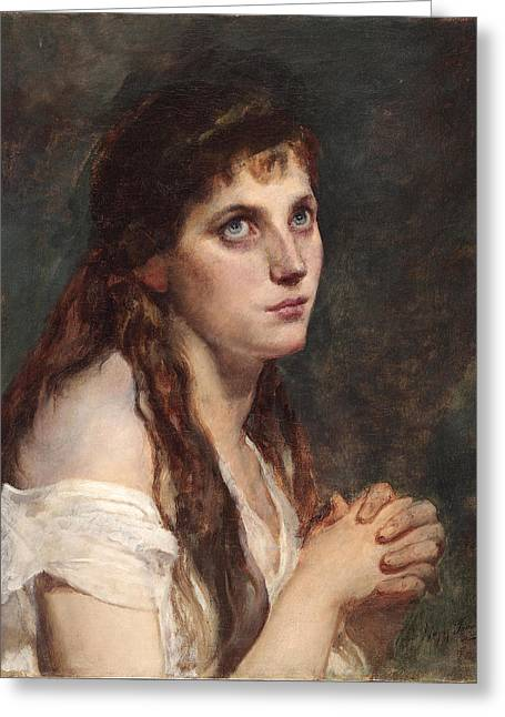 Girl With Folded Hands Greeting Card by Francesco Hayez
