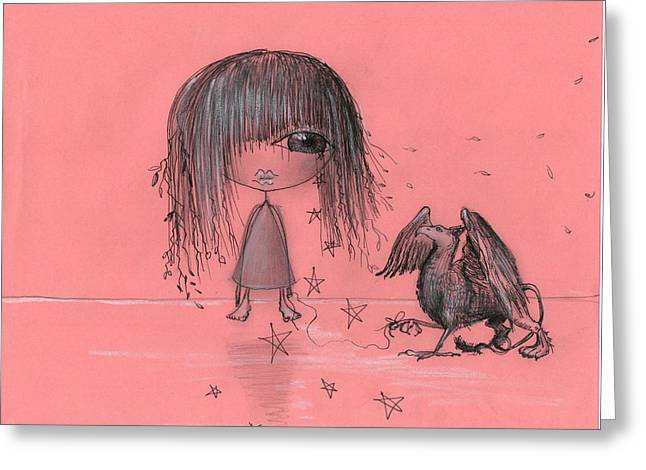 Girl With Griffin  Greeting Card