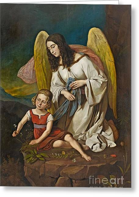 Girl With Guardian Angel Greeting Card