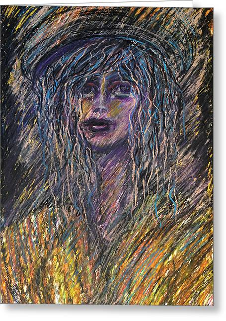 Girl With Hat Greeting Card