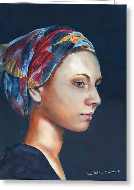 Girl With Headscarf Greeting Card