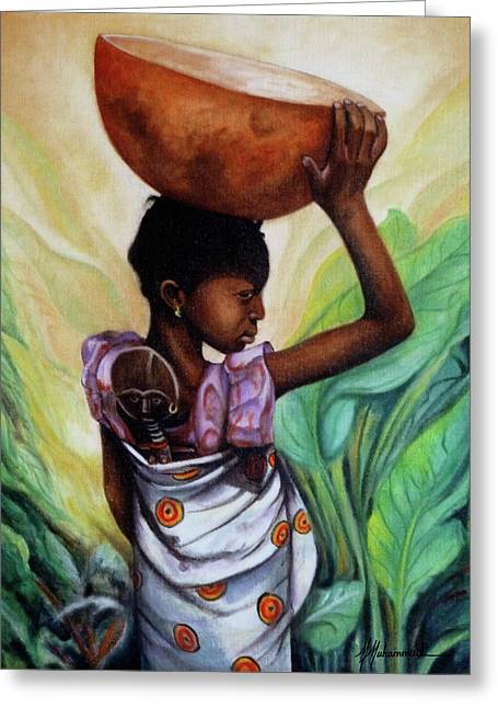 Girl With Her Doll Greeting Card by Marcella Muhammad