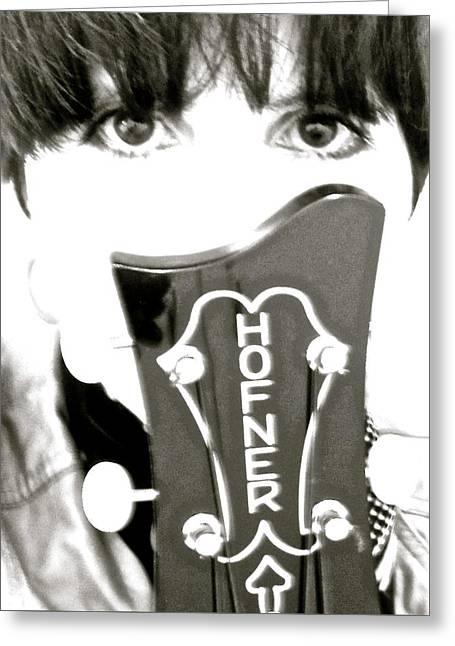 Girl With Hofner Bass Greeting Card by Julie Lynn Mammano