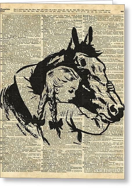 Girl With Horse Illustration Over Vintage Dictionary Page Greeting Card by Jacob Kuch
