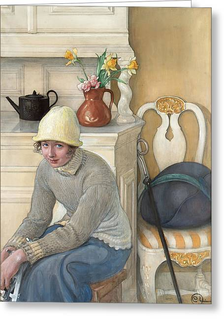 Girl With Ice Skates Greeting Card by Carl Larsson